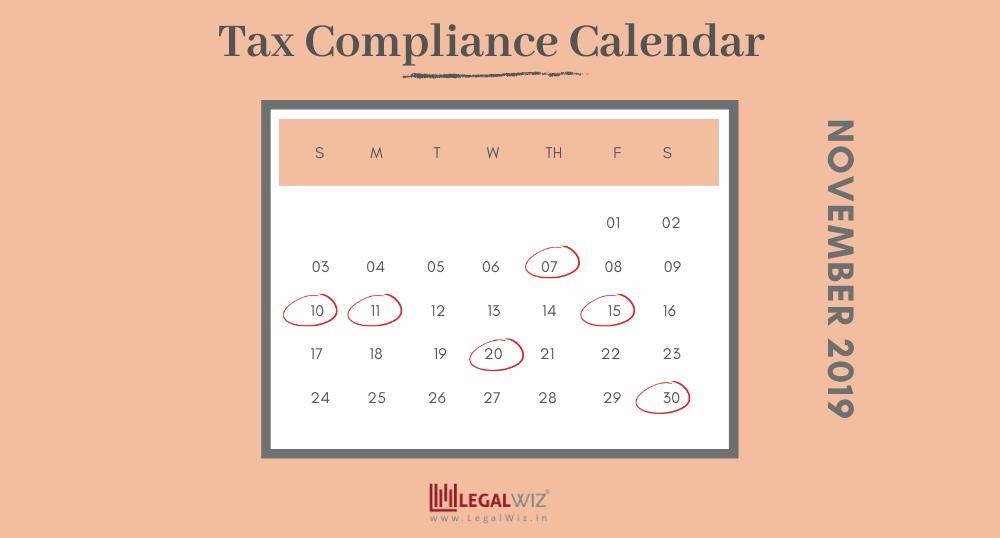 Compliance Calendar for November 2019
