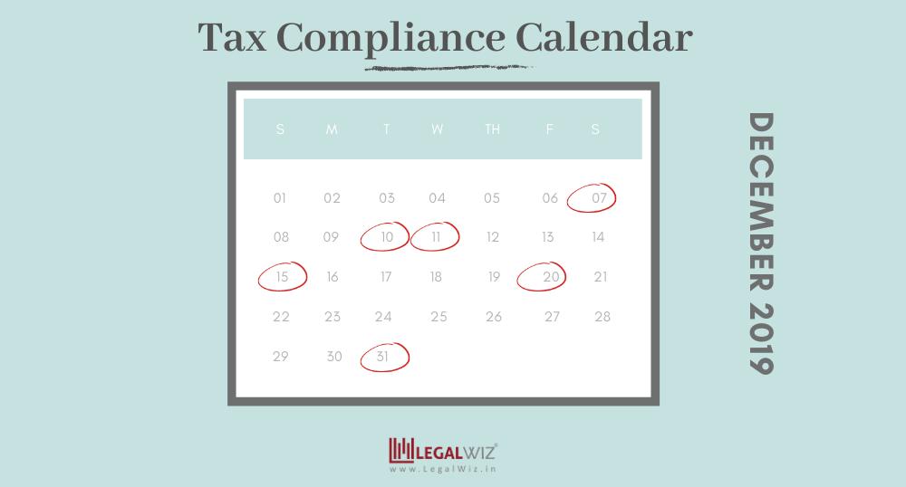 Compliance Calendar for December 2019